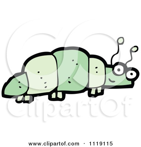 Cartoon Of A Green Caterpillar 9 - Royalty Free Vector Clipart by lineartestpilot
