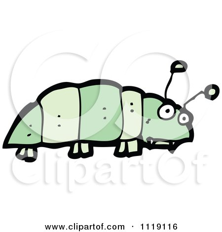 Cartoon Of A Green Caterpillar 10 - Royalty Free Vector Clipart by lineartestpilot