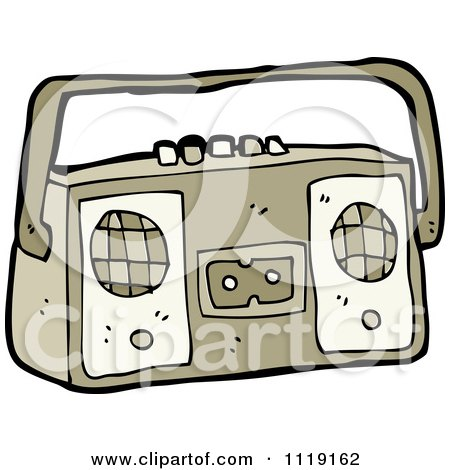Cartoon Of A Brown Radio 1 - Royalty Free Vector Clipart by lineartestpilot