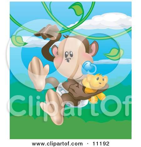 Cute Baby Monkey in a Diaper, Sucking on a Pacifier and Carrying a Teddy Bear While Swinging on Vines in a Rainforest Posters, Art Prints