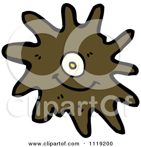 Vector cartoon of a brown virus germ bacteria 2 royalty free clipart