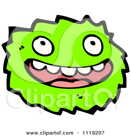 Vector cartoon of a green virus germ bacteria 2 royalty free clipart