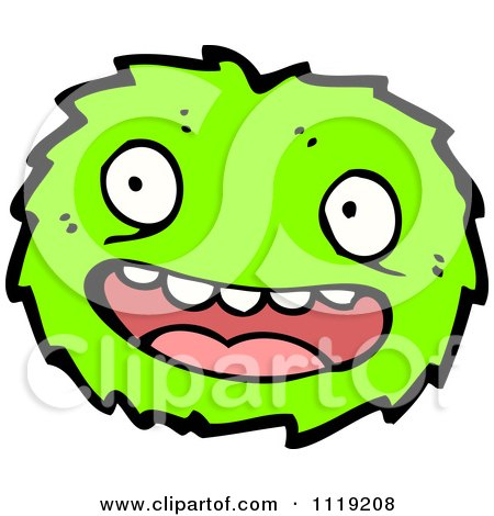 Vector cartoon of a green virus germ bacteria 3 royalty free clipart
