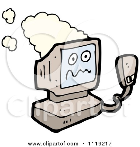 Cartoon Of A Crashing Old Desktop Computer - Royalty Free Vector Clipart by lineartestpilot