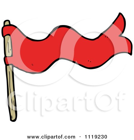 Clipart Of A Waving Red Flag 1 - Royalty Free Vector Illustration by lineartestpilot