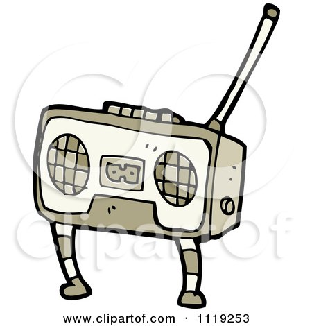 Cartoon Of A Brown Radio With Legs - Royalty Free Vector Clipart by lineartestpilot
