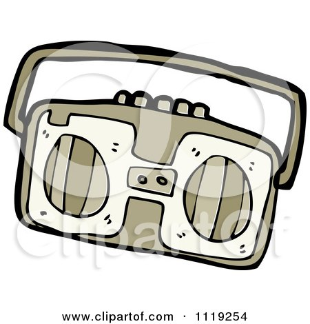Cartoon Of A Brown Radio 2 - Royalty Free Vector Clipart by lineartestpilot