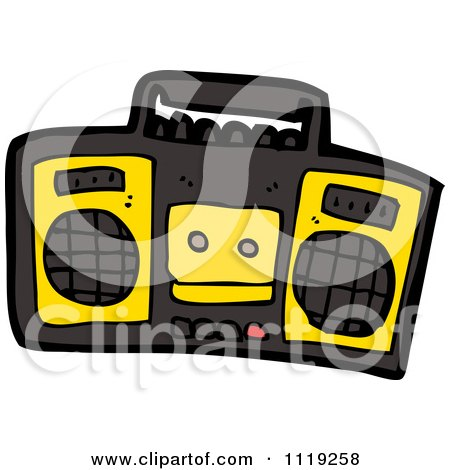 Cartoon Of A Black And Yellow Radio - Royalty Free Vector Clipart by lineartestpilot