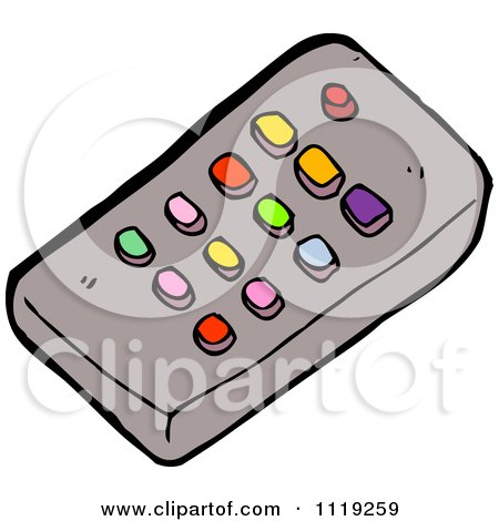 tv remote clipart. cartoon of a tv remote control with colorful buttons - royalty free vector clipart by lineartestpilot