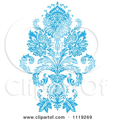Clipart Of A Blue Victorian Floral Damask Design Element 3 - Royalty Free Vector Illustration by BestVector