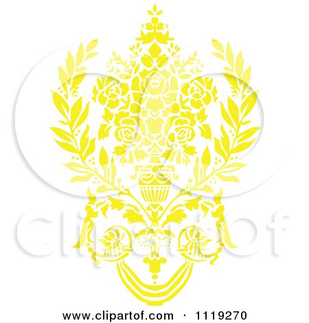 Clipart Of A Yellow Victorian Floral Damask Design Element 2 - Royalty Free Vector Illustration by BestVector