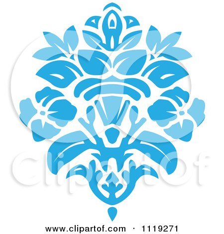 Clipart Of A Blue Victorian Floral Damask Design Element 2 - Royalty Free Vector Illustration by BestVector