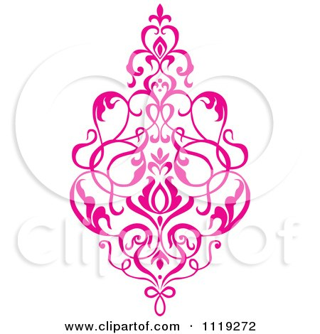 Clipart Of A Pink Victorian Floral Damask Design Element 1 - Royalty Free Vector Illustration by BestVector