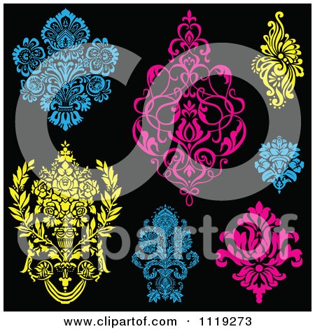 Clipart Of Blue Pink And Yellow Victorian Floral Damask Design Elements - Royalty Free Vector Illustration by BestVector