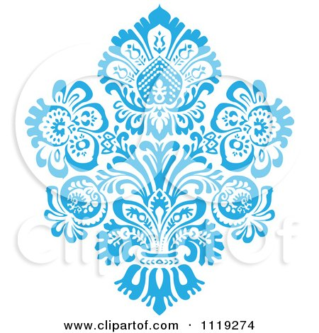 Clipart Of A Blue Victorian Floral Damask Design Element 1 - Royalty Free Vector Illustration by BestVector