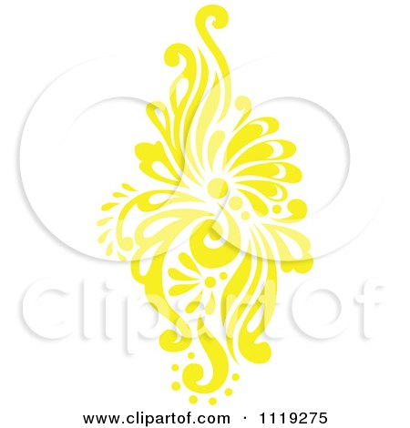 Clipart Of A Yellow Victorian Floral Damask Design Element 1 - Royalty Free Vector Illustration by BestVector