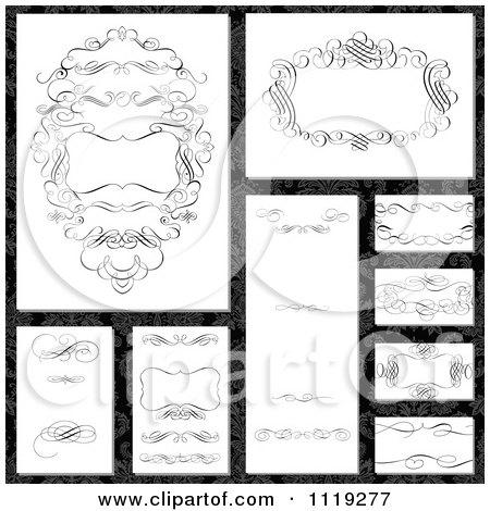 Clipart Of Ornate Black Swirl Frame Designs On Damask - Royalty Free Vector Illustration by BestVector