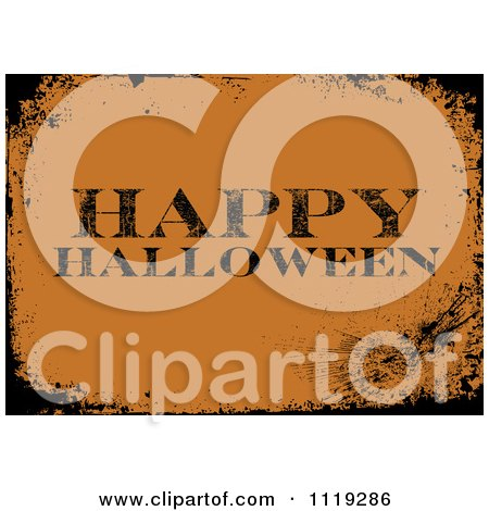 Clipart Of A Grungy Orange Happy Halloween Greeting With Black Distressed Borders - Royalty Free Vector Illustration by BestVector