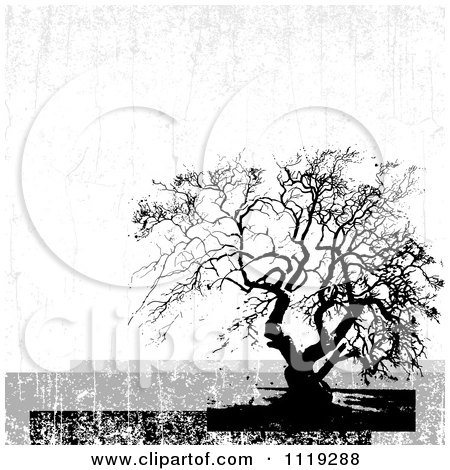 Clipart Of A Distressed Bare Tree Background - Royalty Free Vector Illustration by BestVector