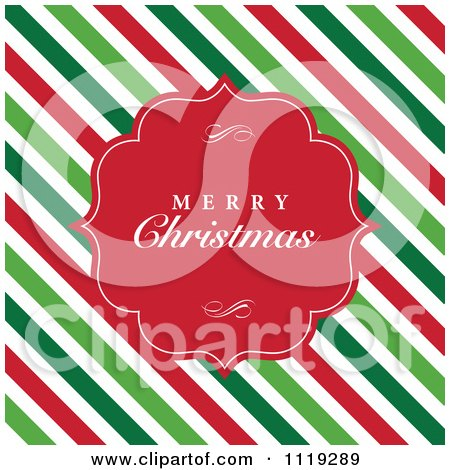 Clipart Of A Merry Christmas Greeting In A Red Frame Over Diagonal Stripes - Royalty Free Vector Illustration by BestVector