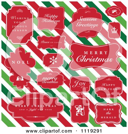 Clipart Of Christmas Greetings In Red Frames Over Diagonal Stripes - Royalty Free Vector Illustration by BestVector
