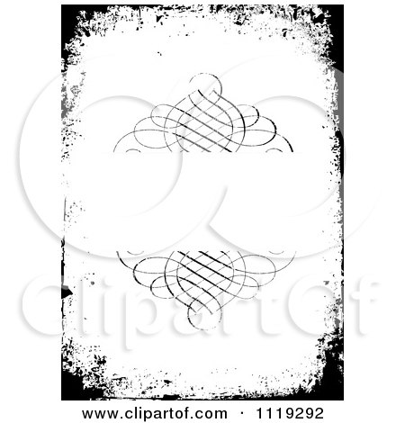 Clipart Of A Grungy Black And White Swirl Frame Invitation - Royalty Free Vector Illustration by BestVector