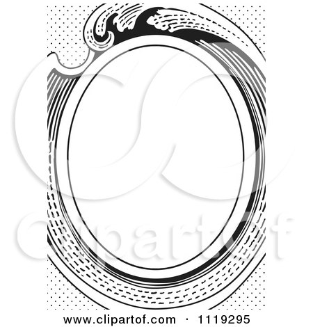 Clipart Of A Retro Black And White Victorian Oval Frame - Royalty Free Vector Illustration by BestVector