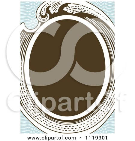 Clipart Of A Retro Victorian Oval Frame On Blue - Royalty Free Vector Illustration by BestVector