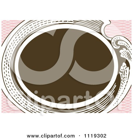 Clipart Of A Retro Victorian Oval Frame On Pink - Royalty Free Vector Illustration by BestVector