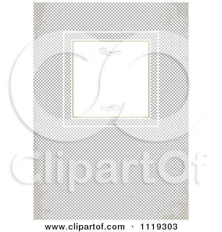 Clipart Of A Frame With Swirls On Grungy Gray Cross Hatch - Royalty Free Vector Illustration by BestVector