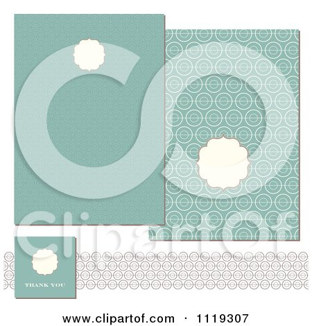 Clipart Of Pastel Turquoise Circle Invitation Designs - Royalty Free Vector Illustration by BestVector
