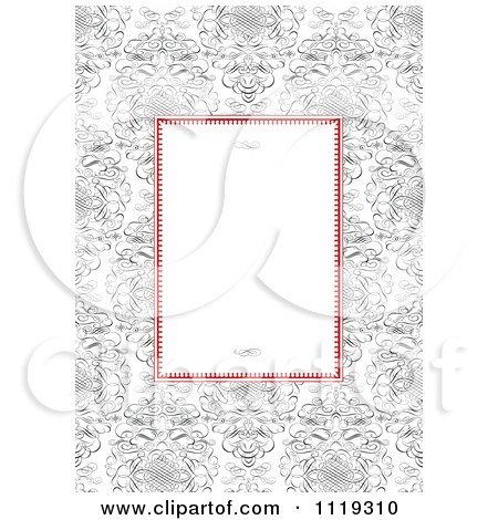 Clipart Of A Red And White Frame With Swirls Over Ornate Swirls - Royalty Free Vector Illustration by BestVector
