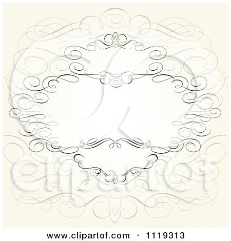 Clipart Of An Ornate Swirl Frame With Copyspace On Beige - Royalty Free Vector Illustration by BestVector