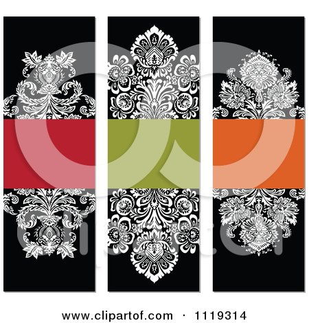 Clipart Of Ornate Victorian Damask Invitation Panels With Copyspace 2 - Royalty Free Vector Illustration by BestVector