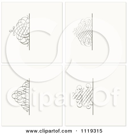Clipart Of Ornate Swirl Square Backgrounds - Royalty Free Vector Illustration by BestVector