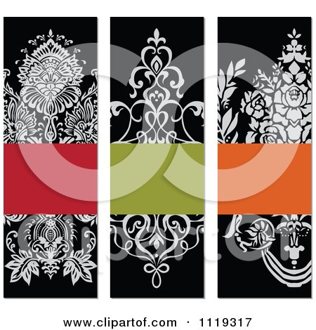 Clipart Of Ornate Victorian Floral Invitation Panels With Copyspace - Royalty Free Vector Illustration by BestVector