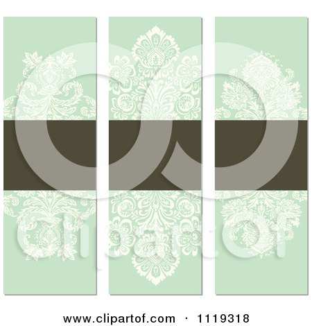 Clipart Of Ornate Victorian Damask Invitation Panels With Copyspace 4 - Royalty Free Vector Illustration by BestVector