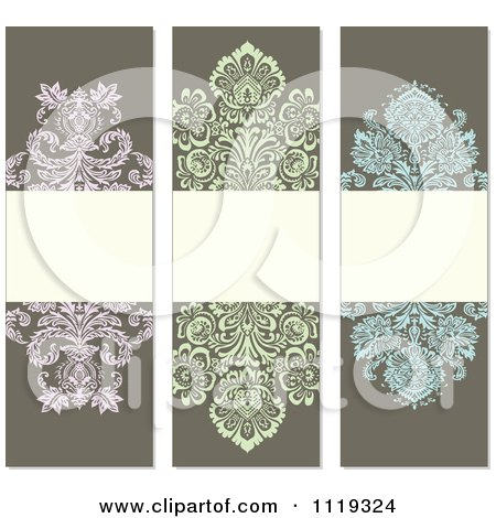 Clipart Of Ornate Victorian Damask Invitation Panels With Copyspace 3 - Royalty Free Vector Illustration by BestVector