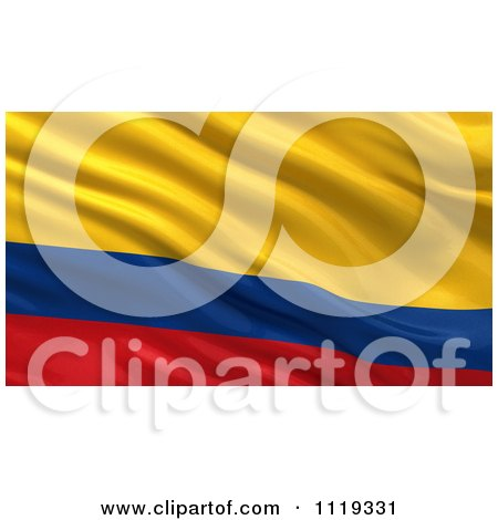 Clipart Of A 3d Waving Flag Of Colombia Rippling And Waving - Royalty Free CGI Illustration by stockillustrations