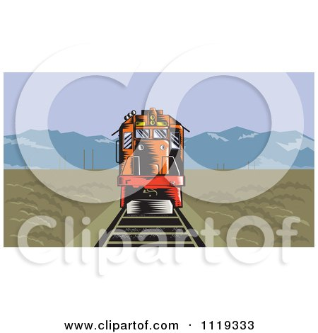 Clipart Of A Retro Diesel Train On Tracks In A Flat Landscape With Mountains In The Distance - Royalty Free Vector Illustration by patrimonio
