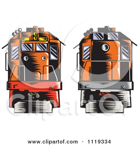 Clipart Of Retro Woodcut Diesel Trains Shown Front And Back - Royalty Free Vector Illustration by patrimonio