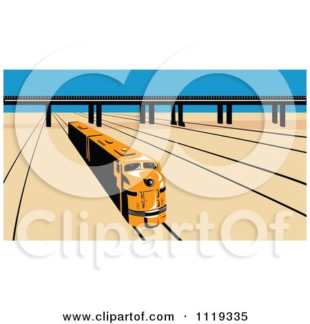 Clipart Of A Retro Diesel Train On Tracks Near A Viaduct - Royalty Free Vector Illustration by patrimonio