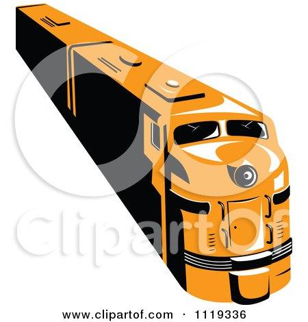 Clipart Of A Retro Orange Diesel Train - Royalty Free Vector Illustration by patrimonio