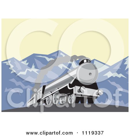 Clipart Of A Retro Steam Engine Train In The Mountains - Royalty Free Vector Illustration by patrimonio