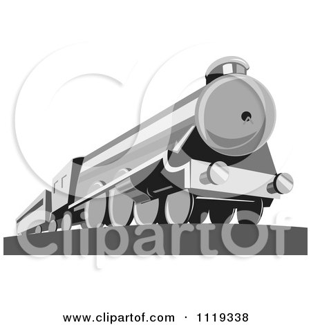 Clipart Of A Retro Steam Engine Train - Royalty Free Vector Illustration by patrimonio