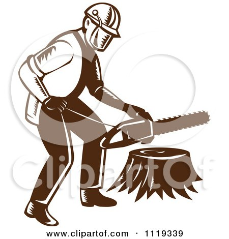 Clipart Of A Retro Arborist Tree Surgeon Or Lumberjack Over A Trunk - Royalty Free Vector Illustration by patrimonio