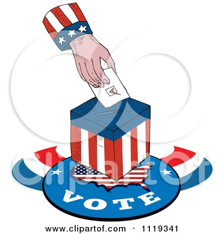 Clipart Of An American Hand Inserting A Voters Ballot Into A Box - Royalty Free Vector Illustration by patrimonio