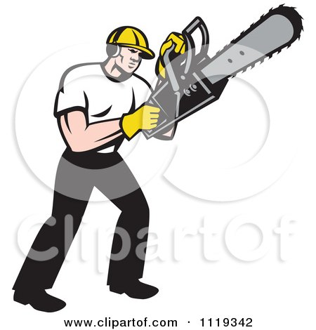 Clipart Of A Retro Arborist Tree Surgeon Or Lumberjack Operating A Chainsaw - Royalty Free Vector Illustration by patrimonio