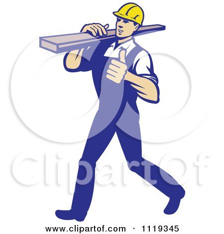 Retro Walking Carpenter Worker Holding A Thumb Up And Carrying Lumber On His Shoulder Posters, Art Prints