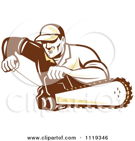 Retro Arborist Tree Surgeon Or Lumberjack Starting Up A Chainsaw Posters, Art Prints